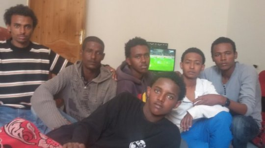 (From left) Abraham Naizghi, Yasin Abdulaziz, Yohannes Mebrahtu, Nael Goitom, Thomas Ghiwet and Aman Shishay escaped IS in Libya after one month of captivity